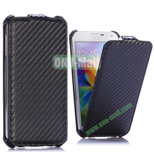 Carbon Fiber Pattern Vertical Flip Leather Case for Samsung Galaxy S5 I9600 G900 (Black)