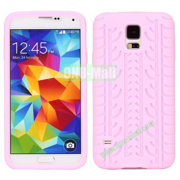 Tire Tread Grain Soft Silicone Case Cover for Samsung Galaxy S5 i9600 G900 ( Pink)