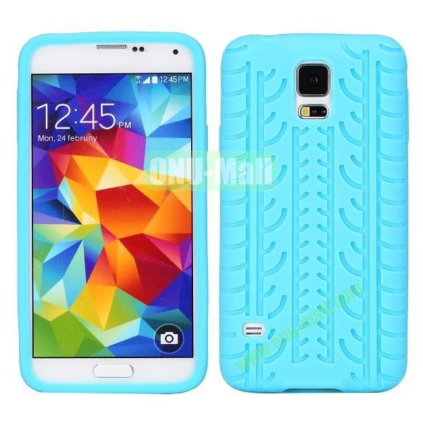 Tire Tread Grain Soft Silicone Case Cover for Samsung Galaxy S5 i9600 G900 ( Blue )