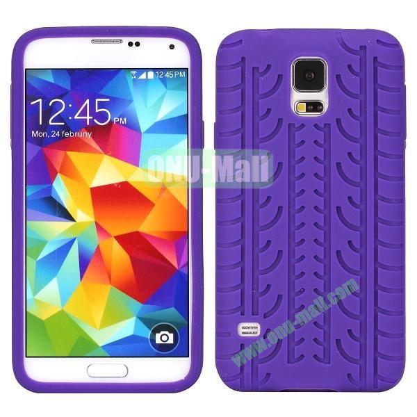 Tire Tread Grain Soft Silicone Case Cover for Samsung Galaxy S5 i9600 G900 ( Purple )