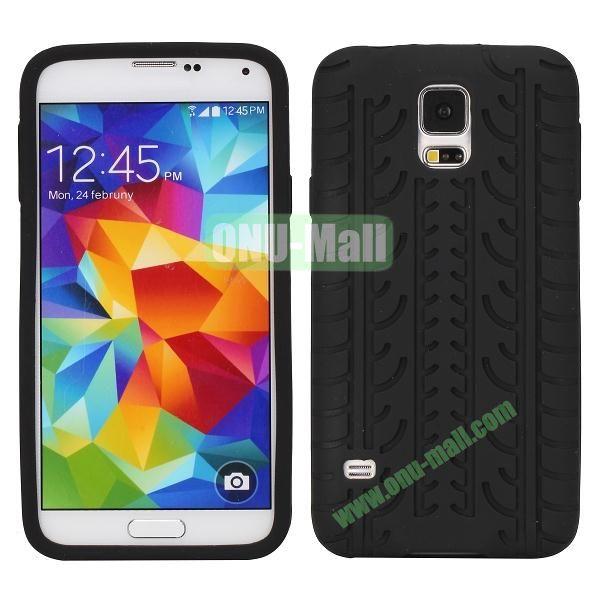 Tire Tread Grain Soft Silicone Case Cover for Samsung Galaxy S5 i9600 G900 ( Black )
