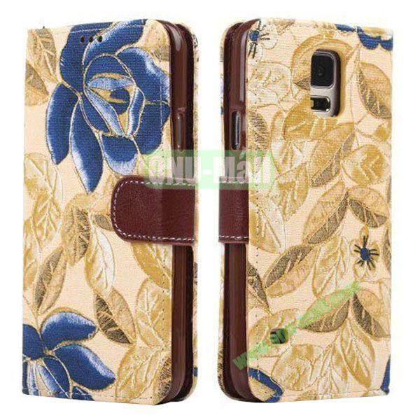 Printing Flower Pattern Detachable TPU + Leather Case for Samsung Galaxy S5  I9600 with Card Slots (Yellow)