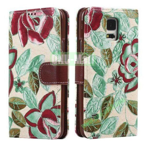 Printing Flower Pattern Detachable TPU + Leather Case for Samsung Galaxy S5  I9600 with Card Slots (Blue)