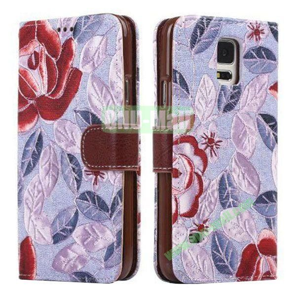 Printing Flower Pattern Detachable TPU + Leather Case for Samsung Galaxy S5  I9600 with Card Slots (Purple)