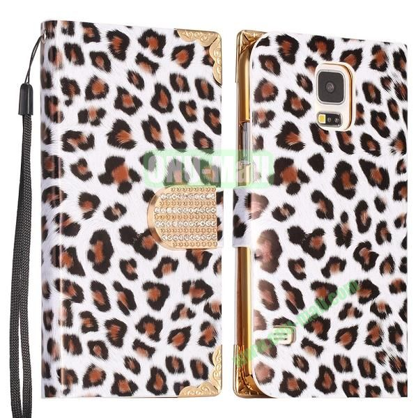Leopard Pattern Diamond Buckle Wallet Leather Case Cover  for Samsung Galaxy S5I9600 (Black)