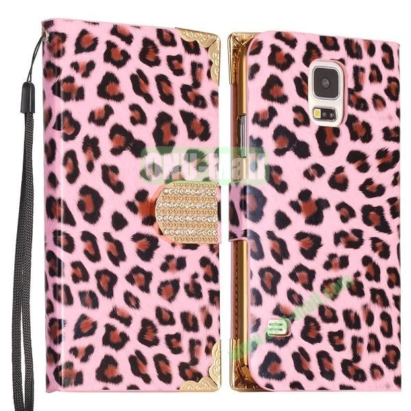 Leopard Pattern Diamond Buckle Wallet Leather Case Cover  for Samsung Galaxy S5I9600 (Pink)