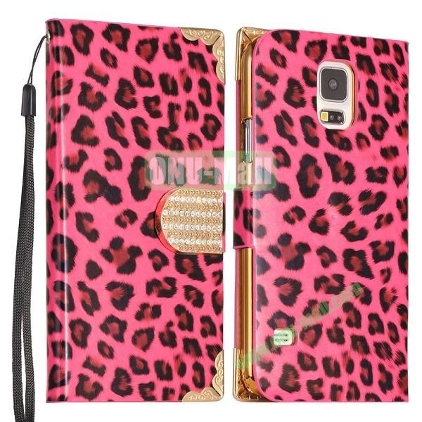 Leopard Pattern Diamond Buckle Wallet Leather Case Cover  for Samsung Galaxy S5I9600 (Red)