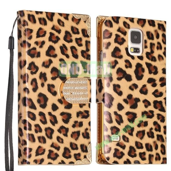 Leopard Pattern Diamond Buckle Wallet Leather Case Cover  for Samsung Galaxy S5I9600 (Gold)