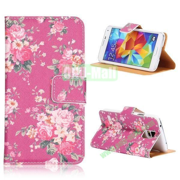 Rose Small Flowers Pattern Flip Stand PU Leather Case for Samsung Galaxy S5  I9600  G900 with Card Slots