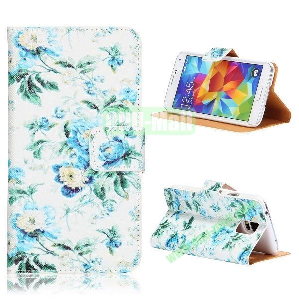 Elegance Flowers Pattern Flip Stand PU Leather Case for Samsung Galaxy S5  I9600  G900 with Card Slots