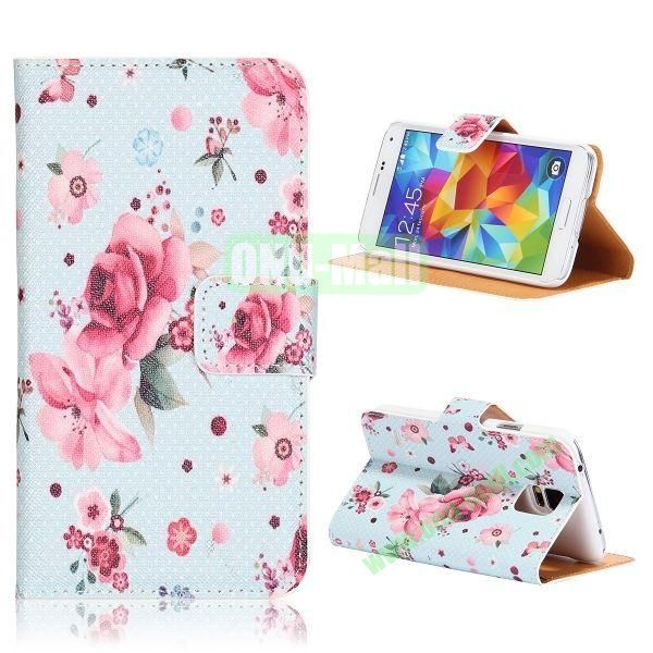 Beautiful Flowers Pattern Flip Stand PU Leather Case for Samsung Galaxy S5  I9600  G900 with Card Slots