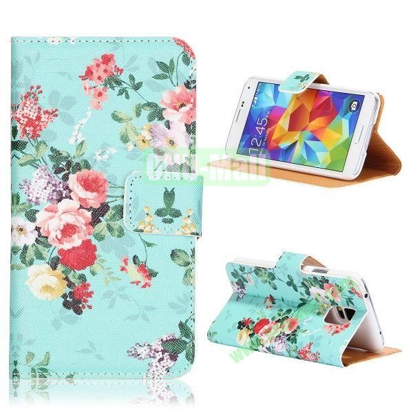 Cyan Flowers Pattern Flip Stand PU Leather Case for Samsung Galaxy S5  I9600  G900 with Card Slots