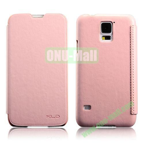 KLD Enland Series Crazy Horse Texture Flip Stand Leather Case for Samsung Galaxy S5 I9600 G900 (Pink)