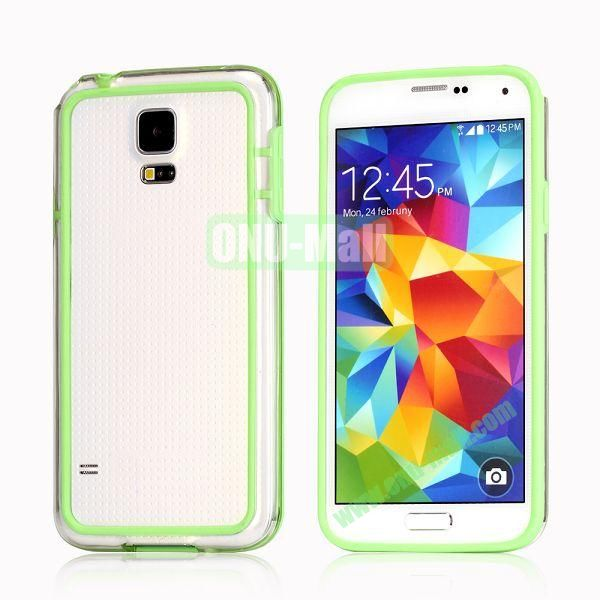 Transparent Bumper Frame Case For Samsung Galaxy S5 i9600 G900 (Green)