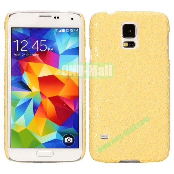 Court Flower Pattern Hard Case For Samsung Galaxy S5 i9600 G900 (Yellow)