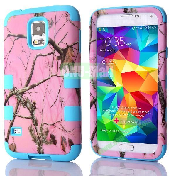 Tree Branches Pattern 3 in 1 Hybrid Silicone+PC Case for Samsung Galaxy S5 i9600 (Blue Frame)
