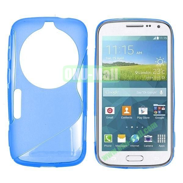 S Shape TPU Case Cover For Samsung Galaxy K Zoom S5 SM-C115 C1116 (Blue)