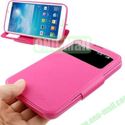 Leather Case with Holder  Display Caller ID for Samsung Galaxy Mega 6.3  i9200 (Rose)