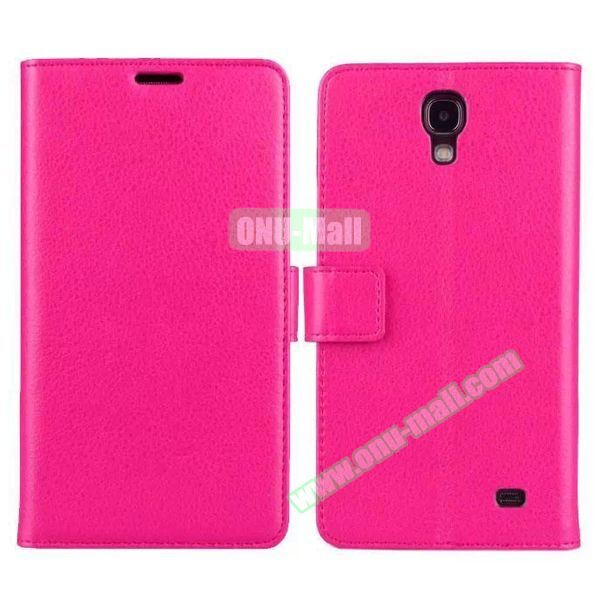 Litchi Texture Flip Stand Leather Case for Samsung Galaxy Mega 2 G7508 with Card Slots (Rose)
