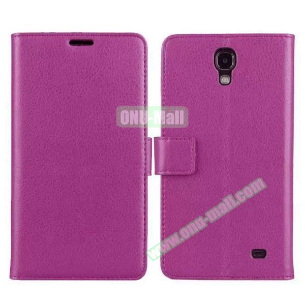 Litchi Texture Flip Stand Leather Case for Samsung Galaxy Mega 2 G7508 with Card Slots (Purple)