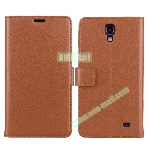 Litchi Texture Flip Stand Leather Case for Samsung Galaxy Mega 2 G7508 with Card Slots (Brown)