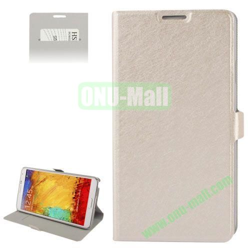 Silver Hairline Texture Hard Leather Case for Samsung Galaxy Note III  N9000 with Card Slot & Holder (Light Gold)