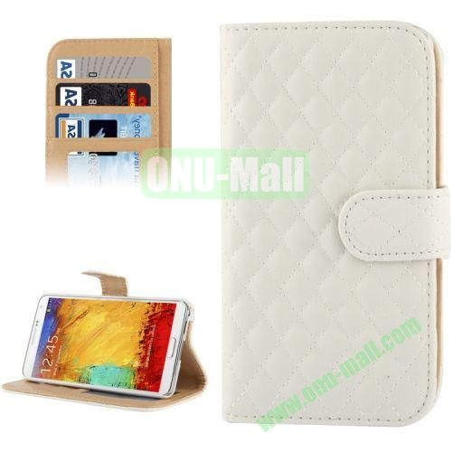 Plaid Texture Leather Case for Samsung Galaxy Note III  N9000 with Card Slots and Holder (White)