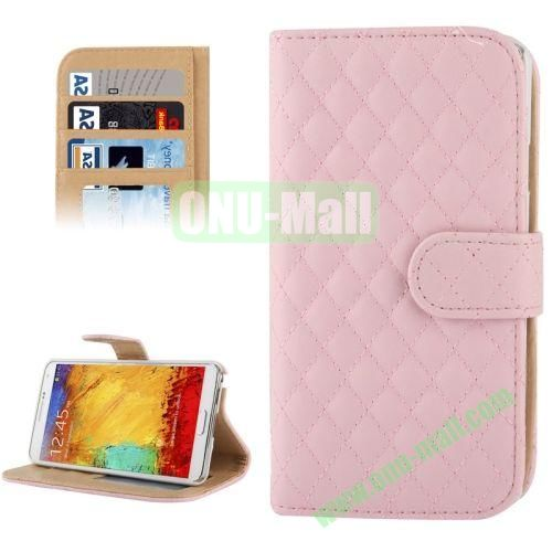 Plaid Texture Leather Case for Samsung Galaxy Note III  N9000 with Card Slots and Holder (Pink)