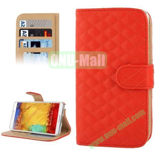 Plaid Texture Leather Case for Samsung Galaxy Note III  N9000 with Card Slots and Holder (Red)
