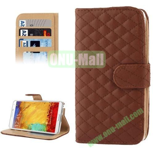 Plaid Texture Leather Case for Samsung Galaxy Note III  N9000 with Card Slots and Holder (Brown)