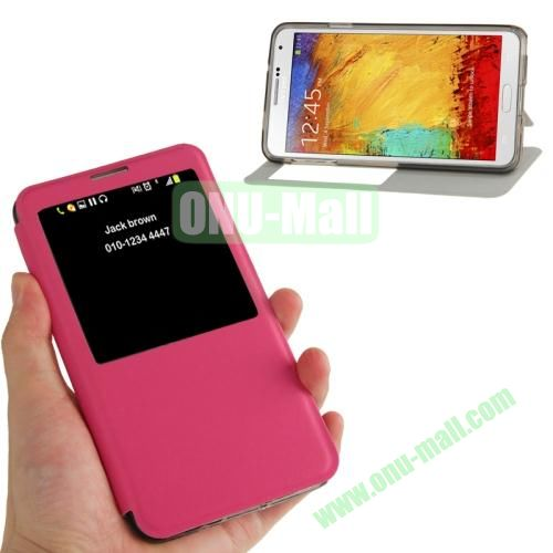Brushed Texture S View Flip Leather Case for Samsung Galaxy Note III  N9000 with Holder (Rose)
