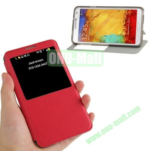 Brushed Texture S View Flip Leather Case for Samsung Galaxy Note III  N9000 with Holder (Red)