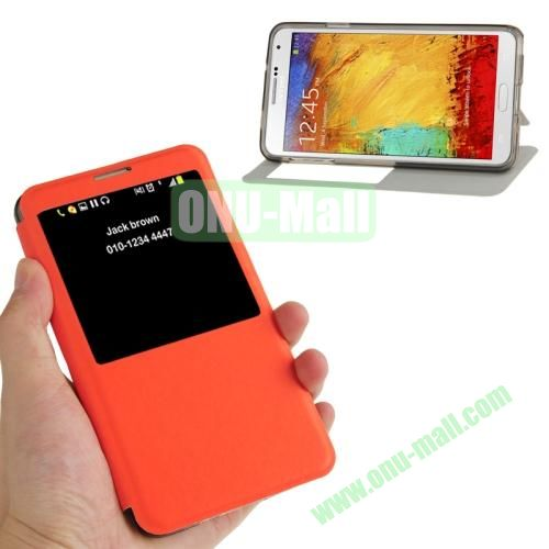 Brushed Texture S View Flip Leather Case for Samsung Galaxy Note III  N9000 with Holder (Orange)