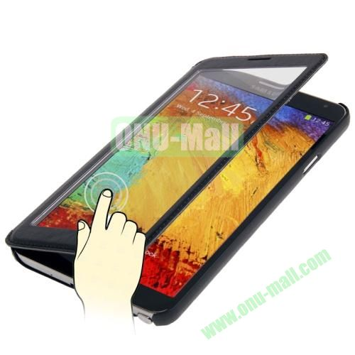 Full-screen S View Leather Case for Samsung Galaxy Note III  N9000 (Black)