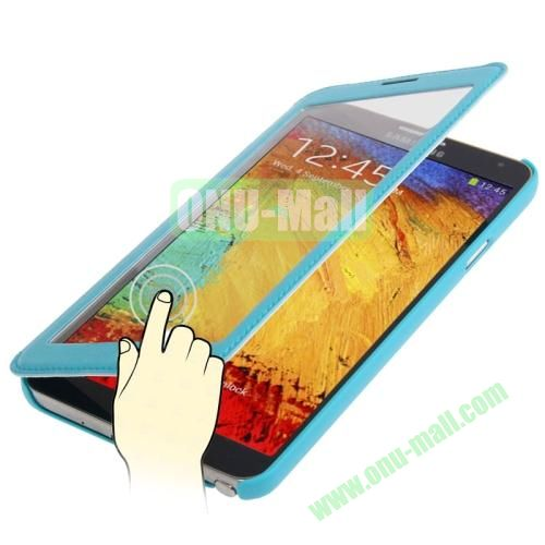 Full-screen S View Leather Case for Samsung Galaxy Note III  N9000 (Blue)
