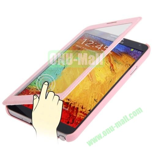 Full-screen S View Leather Case for Samsung Galaxy Note III  N9000 (Pink)