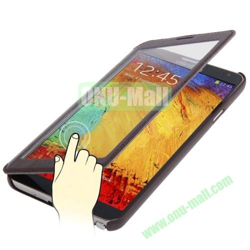 Full-screen S View Leather Case for Samsung Galaxy Note III  N9000 (Brown)