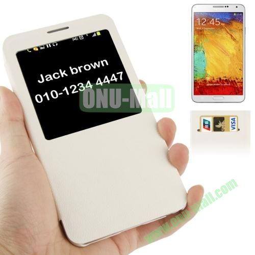 Pebble Texture S View Leather Case for Samsung Galaxy Note III  N9000 (White)