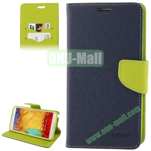 Mercury Series Cross Texture Leather Case for Samsung Galaxy Note III  N9000 with Credit Card Slots & Holder (Dark Blue)