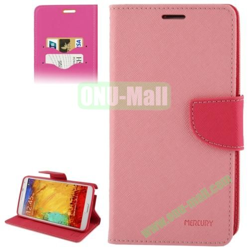 Mercury Series Cross Texture Leather Case for Samsung Galaxy Note III  N9000 with Credit Card Slots & Holder (Pink)