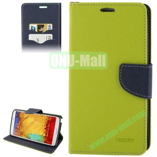 Mercury Series Cross Texture Leather Case for Samsung Galaxy Note III  N9000 with Credit Card Slots & Holder (Yellow)