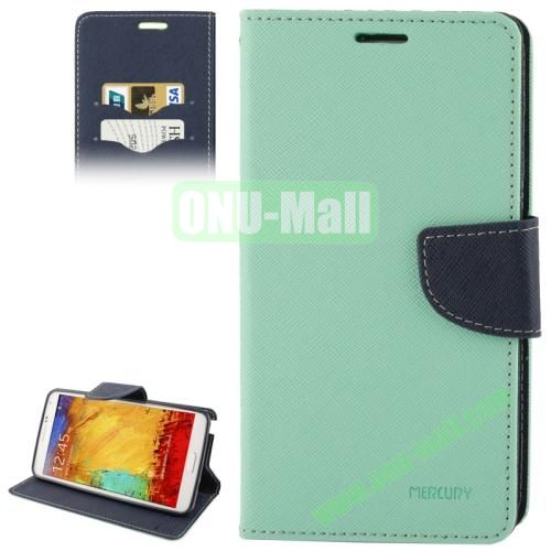 Mercury Series Cross Texture Leather Case for Samsung Galaxy Note III  N9000 with Credit Card Slots & Holder (Green)