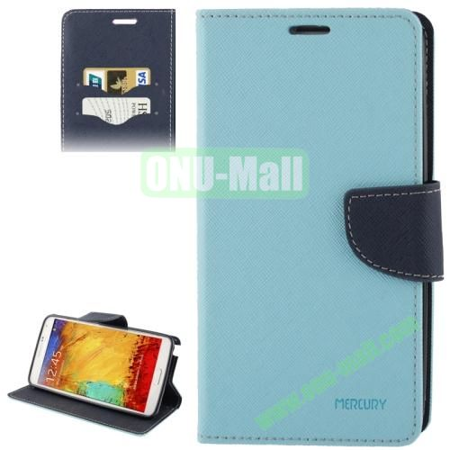 Mercury Series Cross Texture Leather Case for Samsung Galaxy Note III  N9000 with Credit Card Slots & Holder (Blue)