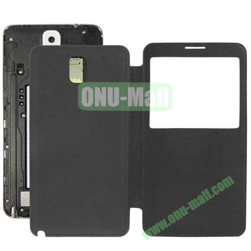 Litchi Texture Ultra Slim Flip Leather Case + Replacement Back Cover for Samsung Galaxy Note III  N9000 (Black)