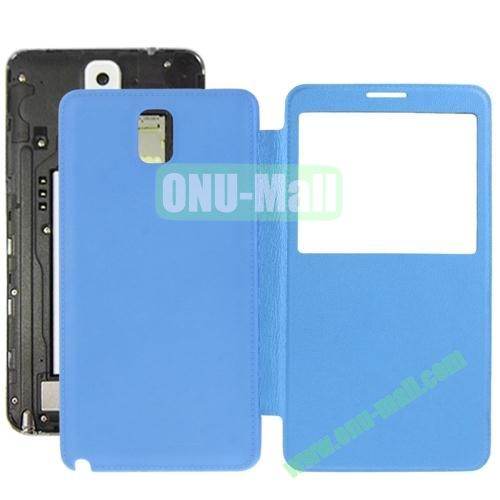 Litchi Texture Ultra Slim Flip Leather Case + Replacement Back Cover for Samsung Galaxy Note III  N9000 (Blue)