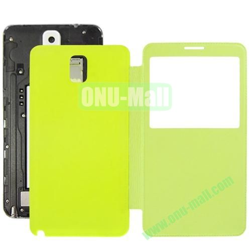 Litchi Texture Ultra Slim Flip Leather Case + Replacement Back Cover for Samsung Galaxy Note III  N9000 (Green)