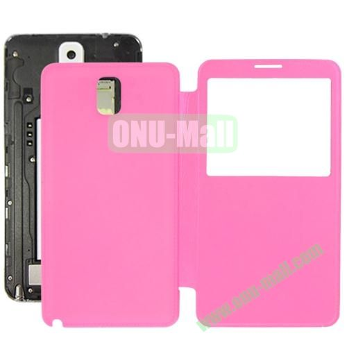 Litchi Texture Ultra Slim Flip Leather Case + Replacement Back Cover for Samsung Galaxy Note III  N9000 (Rose)