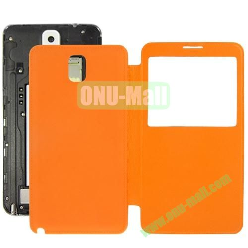 Litchi Texture Ultra Slim Flip Leather Case + Replacement Back Cover for Samsung Galaxy Note III  N9000 (Orange)