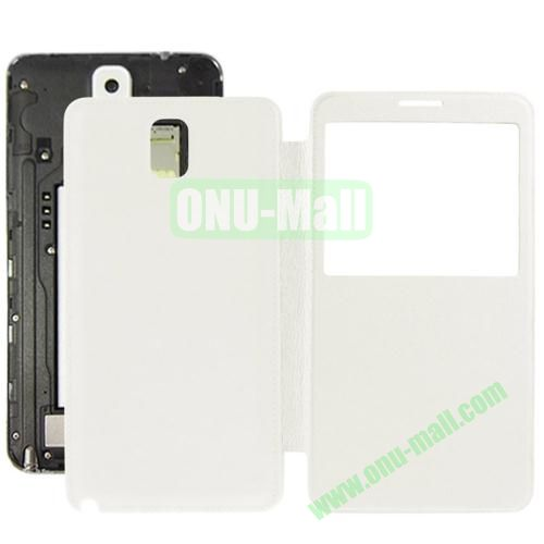 Litchi Texture Ultra Slim Flip Leather Case + Replacement Back Cover for Samsung Galaxy Note III  N9000 (White)