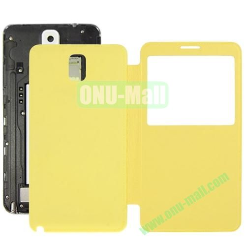 Litchi Texture Ultra Slim Flip Leather Case + Replacement Back Cover for Samsung Galaxy Note III  N9000 (Yellow)